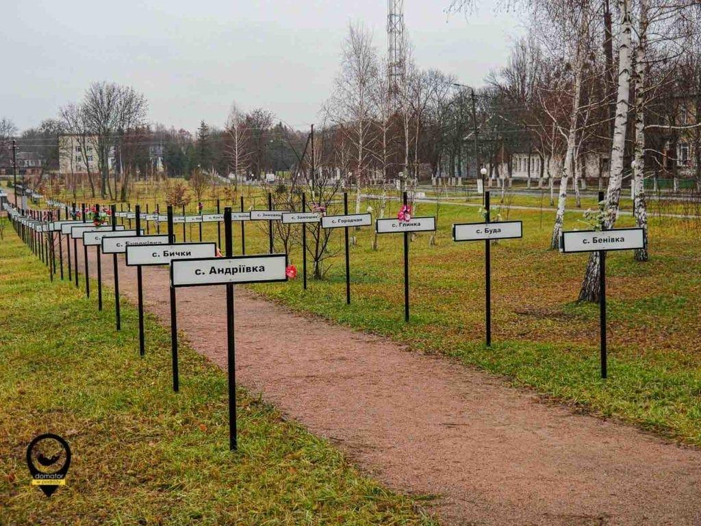 Aleja z nazwami wysiedlonych wsi po katastrofie w Czarnobylu
